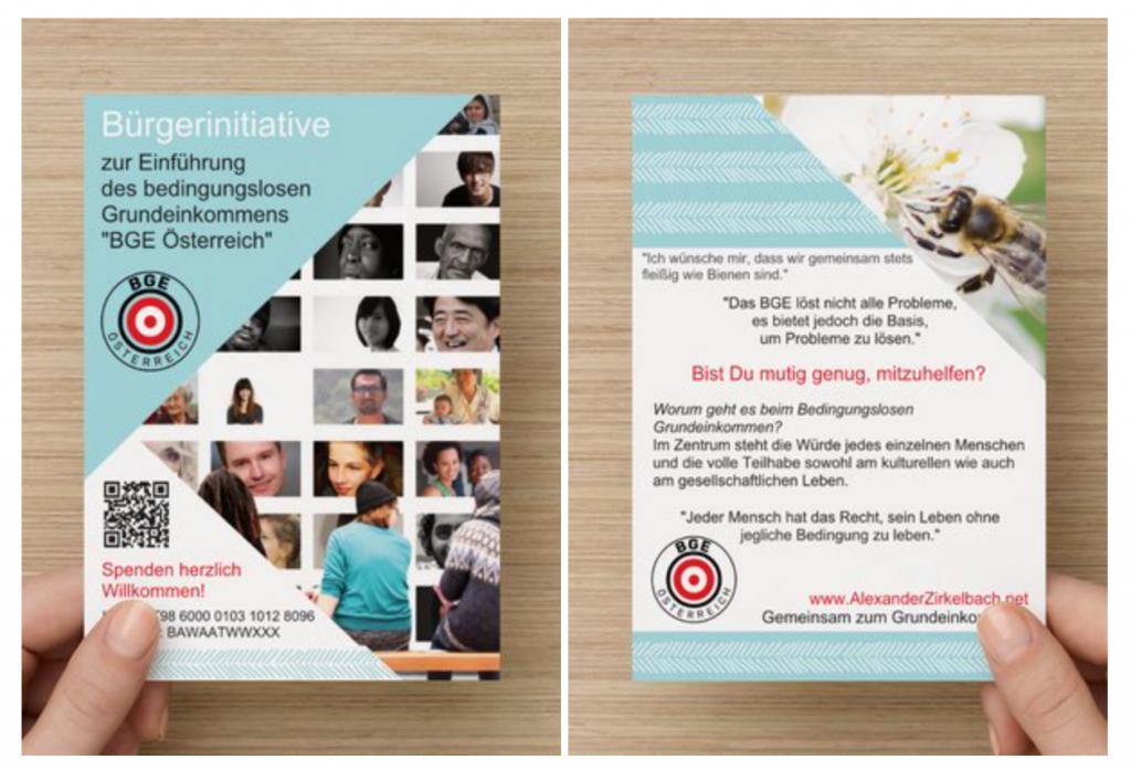 A6 Flyer für die Bürgerinitiative zur Einführung des bedingungslosen Grundeinkommens.